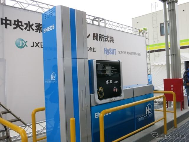 JX日鉱日石エネルギーが神奈川県海老名市にオープンした、ガソリンスタンド一体型の水素ステーション