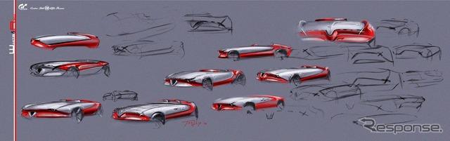 アルファロメオの「ビジョン・グランツーリスモ」車の予告スケッチ