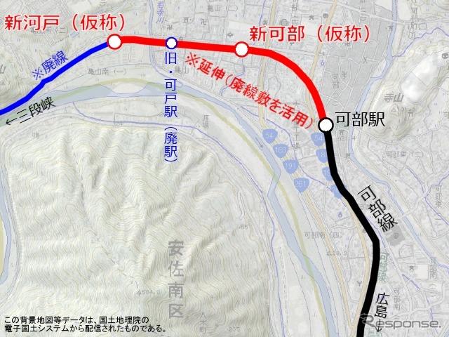 可部線延伸区間の路線図。可部~三段峡間の廃線区間を一部復活させる形になる... 《作成 草町義和
