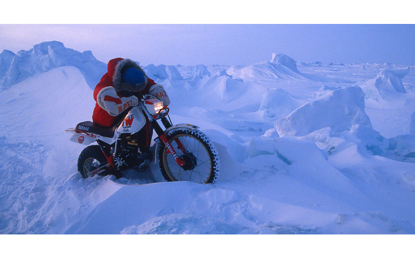 オートバイで南極点・北極点到達