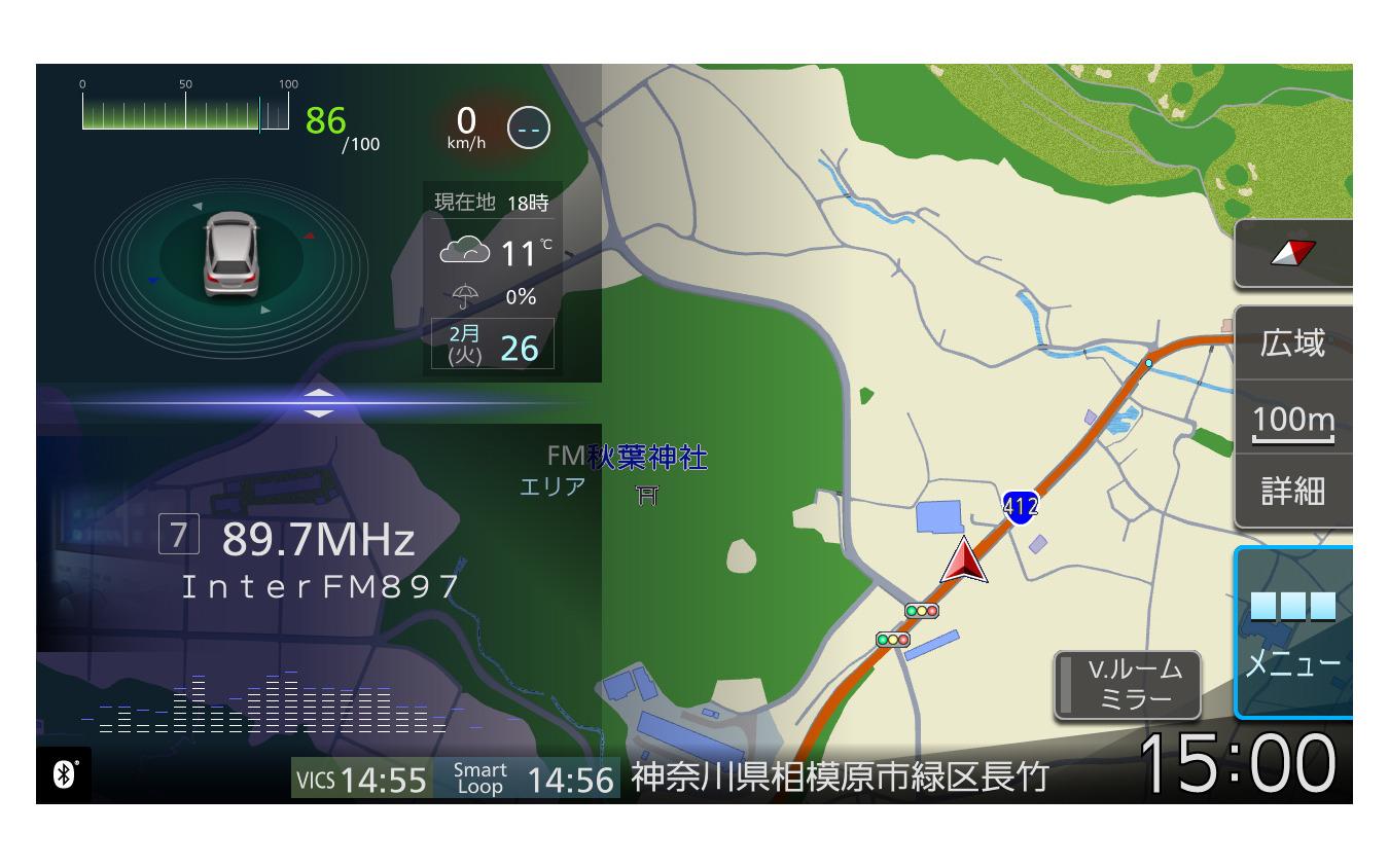 新次元インターフェイスであるオーガニックGUI。マップの邪魔にならず溶け込むような表示が美しい