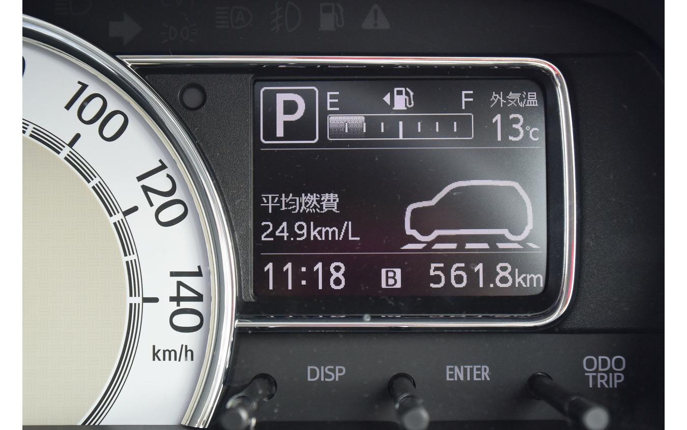 インフォメーションディスプレイ。愛知の音羽蒲郡から関ヶ原、京丹後などを経由し、出雲まで達した561.8km区間。瞬間燃費計はなく平均燃費計のみ。この区間の給油量は22.61リットルで実燃費は24.8km/リットル。平均燃費計値は終始、結構正確という印象だった。