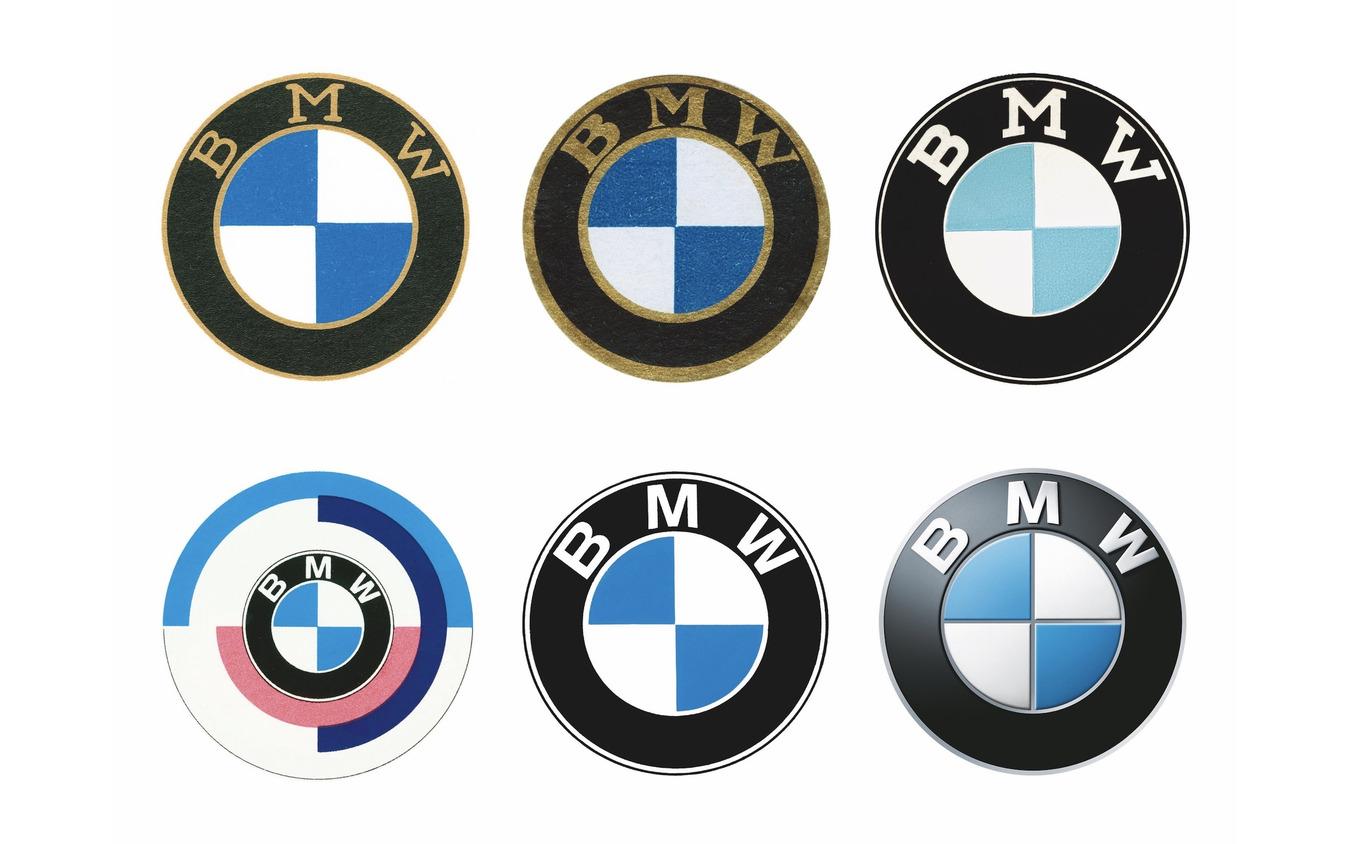 BMWロゴマークの変遷。上段左から右へ1917年、1933年、1954年、下段左から右へ1974年(BMWモータースポーツ)、1979年、2007年。