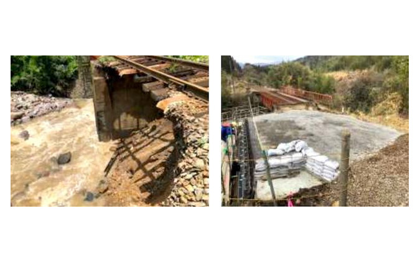 南由布~湯平間の築堤崩壊箇所。左が被災直後、右が現在の状況。