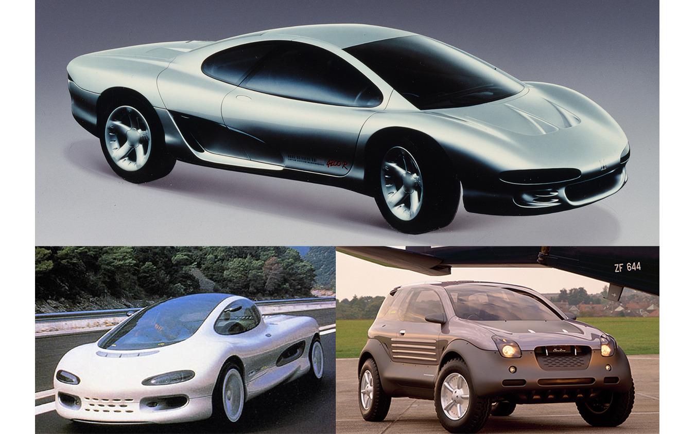 4200R(上)はその名の通り4.2LのV8をミッドシップした美しいスーパースポーツ。コモ(左下)はスーパースポーツとピックアップを融合した新ジャンルRVの提案で、荷台の下には当時のF1規則に準じた3.5L・V12を積む。ヴィークロス(右下)は路面を選ばないオールテレイン・スポーツ。ジェミニのフロアに専用設計のフレームとサスペンションを組み合わせ、1.6Lの直噴スーパーチャージャーを搭載した。このデザインをSUVのミューのフレームに載せて再現したのが量産型ビークロスだ。