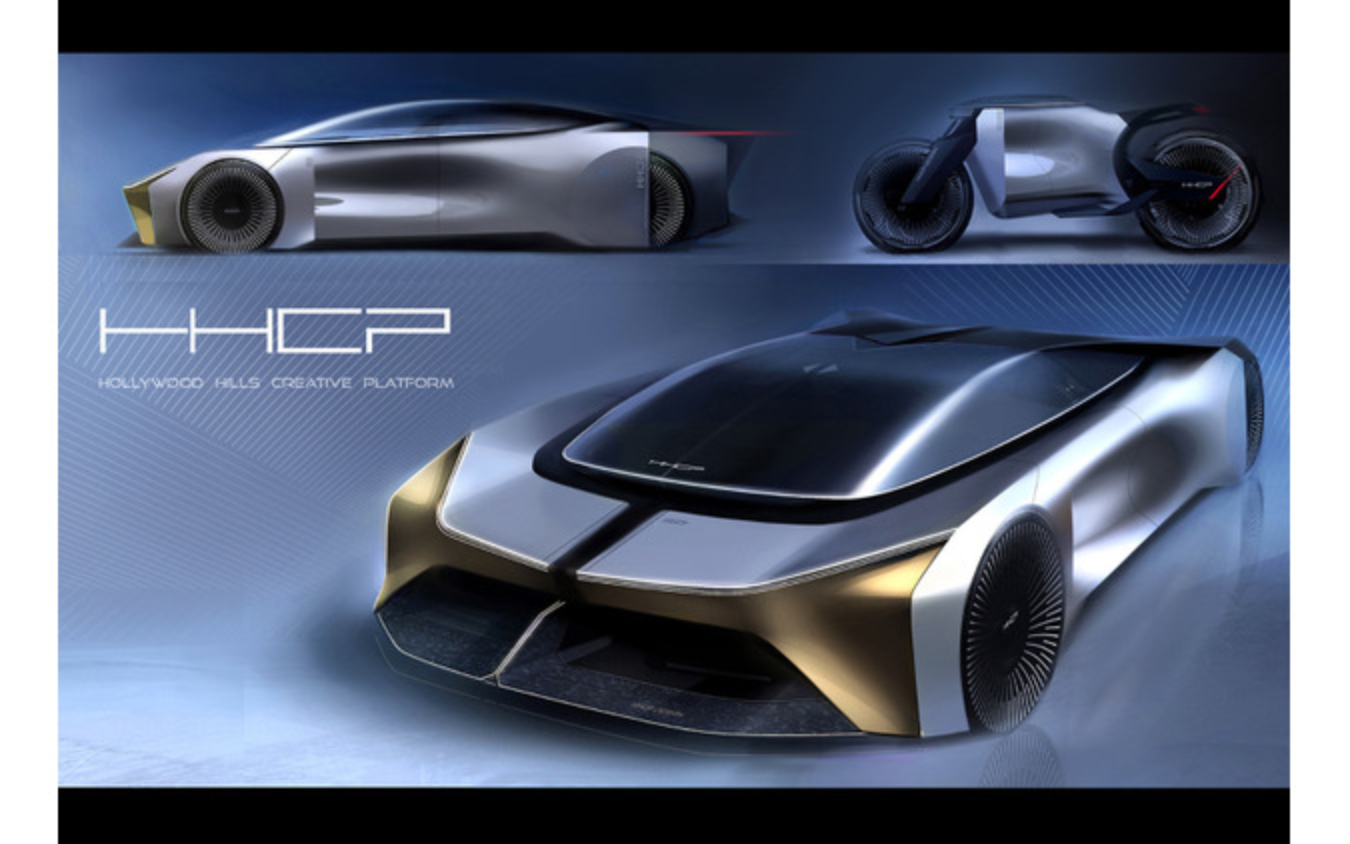 「ハリウッドヒルズ・クリエイティブ・プラットフォーム=HHCP」が自主プロジェクトとして行ったハイパースポーツEVの提案スケッチ。スポーツカーとバイクをセットでデザインしている。