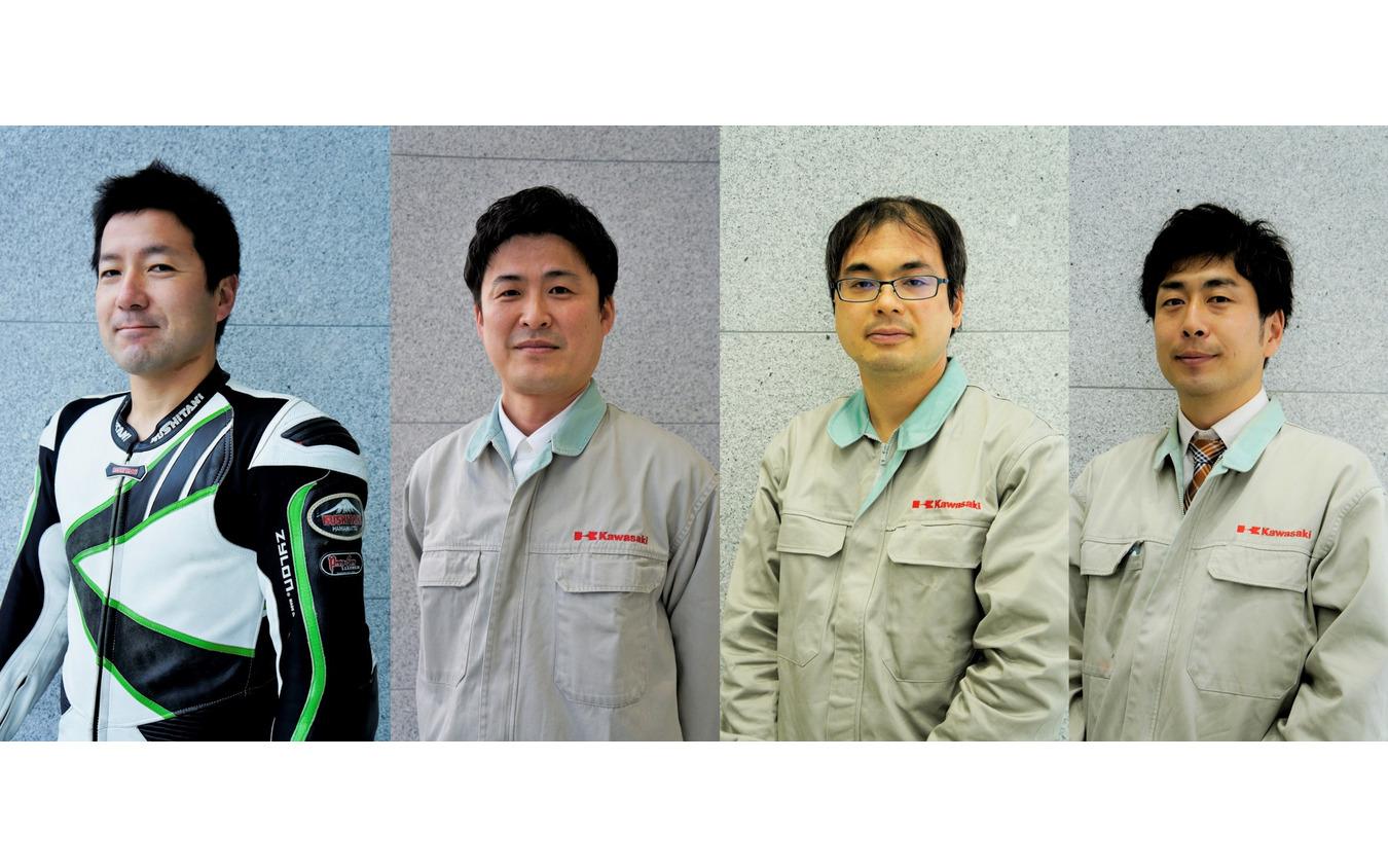 左から開発ライダー 苅田庄平さん、開発リーダー 西山隆史さん、エンジン設計 阪口保彦さん、車体設計 山本智さん