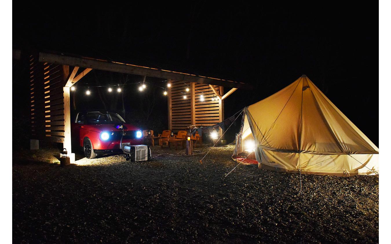 夕食後はホンダの外部給電器「パワーエクスポーター9000」を使ってV2L体験
