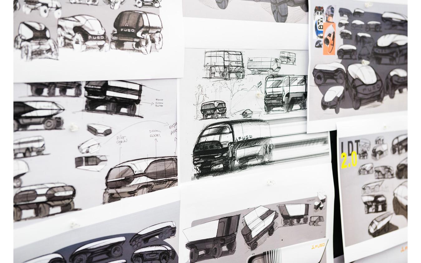 三菱ふそうが語るトラックデザイン。写真はデザインスケッチ