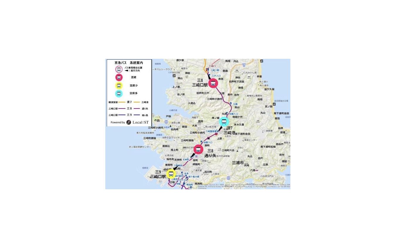 京急バス混雑状況:ウェブマップイメージ