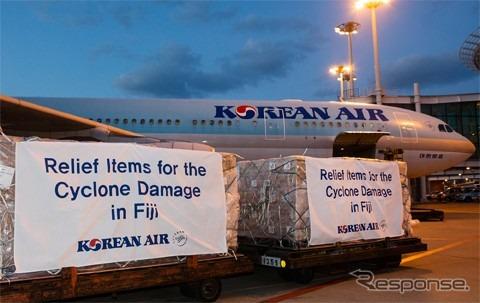 大韓航空、フィジーのサイクロン被災地に救援物資を輸送