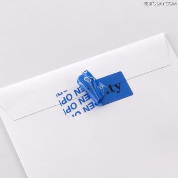 封筒用セキュリティシール「SL-2H-100」は剥がした際にOPENの文字が残る(画像はプレスリリースより)