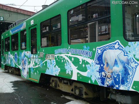 「雪ミク」仕様になった路面電車 「雪ミク」仕様になった路面電車