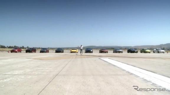 世界のライバル10台と0-400m加速対決を行った日産GT-R(動画キャプチャー)