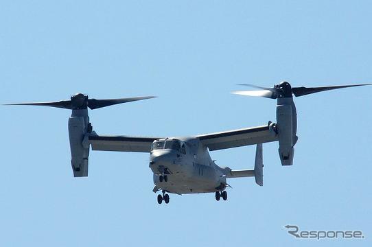一時配備された岩国基地で訓練を行うMV-22 オスプレイ
