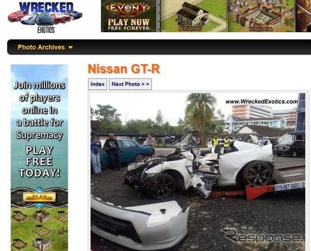 マレーシアで10月7日に起きた日産GT-Rの事故の様子を伝えた『WRECKED EXOTICS』