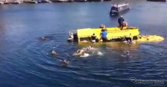 英国リバプールで沈没事故を起こした水陸両用バス