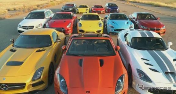 日産GT-Rなど世界のスーパーカー/スポーツカーの加速競争映像を公開した『モータートレンド』