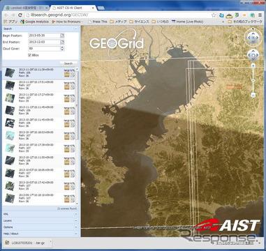 東京湾上空での観測画像検索例。Google Earthで検索地域を指定し、日付や雲の多さで絞り込むことができる。