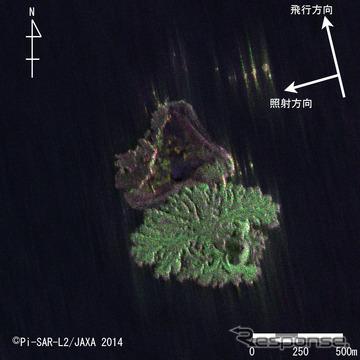Pi-SAR-L2により観測された西之島付近の画像(西側から観測)