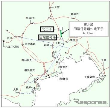 「北王子支線」の位置。3月14日限りで貨物列車の運行を終了し、7月1日付で廃止される見込みだ。