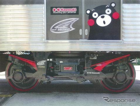 熊本電鉄の車両に装着されたCFRPバネ台車「efWING」。営業運転でのCFRPバネ台車の採用は世界初という。