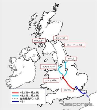 英国HS2の路線図。まず2026年に第1期区間のロンドン~マンチェスター間が開業する予定。JR東日本はHS2社とコンサルティング契約を締結し、広範囲のコンサルティングを行っている。