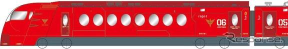 空港線開業・特急ラピート運行開始20周年を記念して4月26日から運転される赤い50000系。「ガンダムUC」とのタイアップ企画となる。