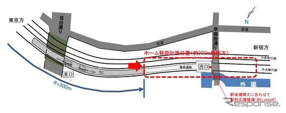 飯田橋駅ホームの現在地と移設予定地(赤点線)。ホームをカーブ区間から直線区間に移す。