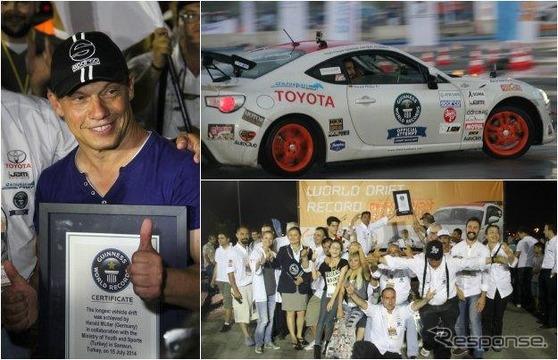 トヨタ86による連続ドリフト走行のギネス世界新記録を伝えるギネス・ワールド・レコード