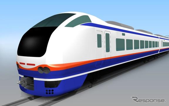 来年3月14日から新潟~上越妙高・新井間で運転を開始する特急『しらゆき』(E653系1100番台)のイメージ。常磐線で使われていたE653系をリニューアルして使用する。