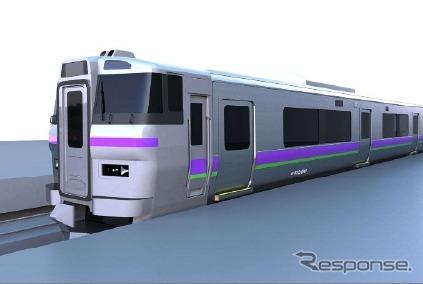 函館~新函館北斗間で運行されるアクセス列車の愛称は『はこだてライナー』に決まった。画像は『はこだてライナー』に投入される733系1000番台のイメージ。