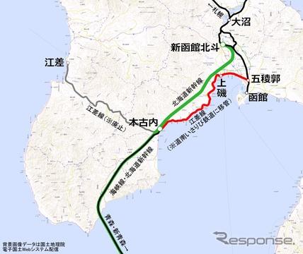 JR北海道が今回廃止を届け出た区間(赤)。北海道新幹線の開業にあわせて道南いさりび鉄道が経営を引き継ぐ。