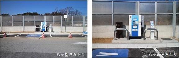 八ヶ岳PAの電気自動車用急速充電サービスのステーション