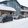BMW開発車両がズラリ冬テスト…X3M 改良新型、リフレッシュされたLED鮮明に