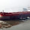 新日鉄、過去最大の鉱石船を大分製鉄所で受け入れ