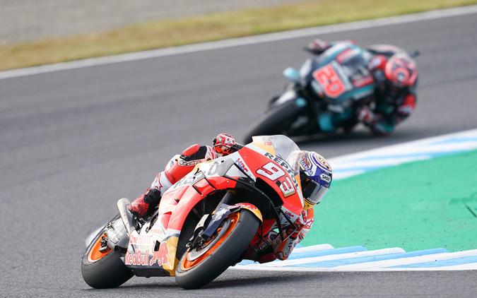 (c)Honda 1周目にトップ争いを展開したマルケスとクアルタラロ