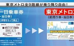 東京メトロ・都営地下鉄のフリー切符、有効期間を時間単位に…3月26日から 画像