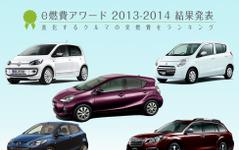 【e燃費アワード2013-2014】実用燃費が最も良いクルマを発表…トヨタ アクア が2冠 画像