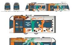 富山ライトレール、バレンタインのラッピング電車運行 画像