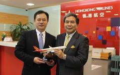 香港航空、熊本県知事を歓迎…来月14日の直行便開設を前に 画像