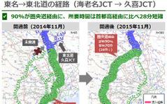 圏央道開通で海老名JCT~久喜JCTの所要時間28分短縮…ナビタイム分析 画像