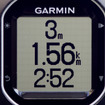 走行中の表示の一例。画面を3分割して標高、走行距離、走行時間が表示されている。