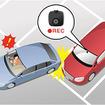 Gセンサーとモーションセンサーで衝撃や動体を検知すると前方の風景を自動録画