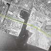 1960年代の船橋サーキット周辺の上空。緑の線が現在の京葉線や東関東自動車道の位置イメージ