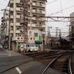 右手が上町線の線路、左が阪堺線