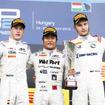 昨年のGP2ハンガリー戦、第2レースで松下(中央)は初優勝を達成した。左は当時の僚友バンドーン。