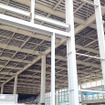 東京ビッグサイト東棟屋外駐車場に姿を現し始めた鉄骨2階造の仮設展示場