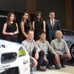 後列右端にBMWジャパンのクロンシュナーブル社長。前列右から鈴木チーム代表、荒、ミューラー。