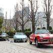 左からプジョー 504カブリオレ、アルファロメオ 1300ジュニアスパイダー、ジュリエッタスパイダー